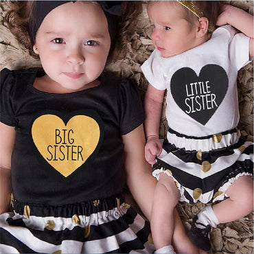 Newborn Baby Kids Sisters Letters Heart Matching Clothing Romper Pants T-shirt Dress Outfits
