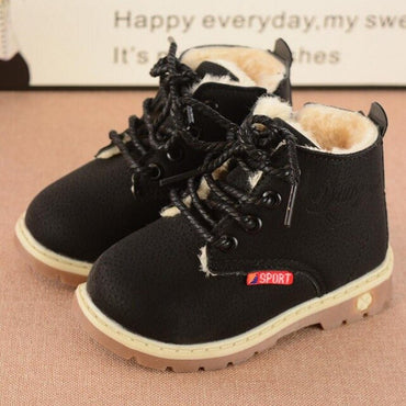 Shoes Fashion Leather Soft Fleece Antislip Girls Boots