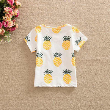 Fashion Cute Pineapple Print One-pieces Girl Casual T-Shirt 2-6 Year