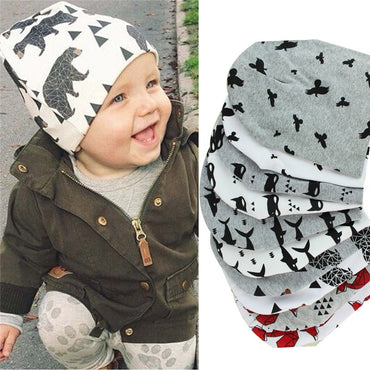 Animal Double Printting Cotton Knit Beanie Hats