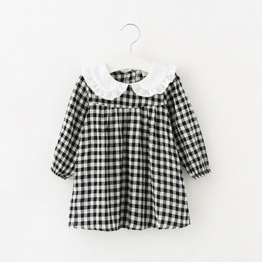 Plaid casual cotton baby girls princess dress