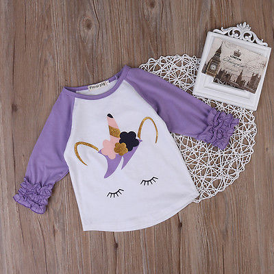 Girls Cotton Ruffles Long Sleeve Printed Blouse