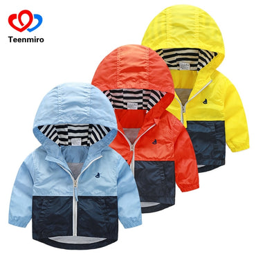 Kids Toddler Boys Jacket Coat Spring Autumn Hooded Windbreaker