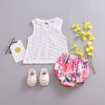 Fashion Baby Cute Lace Hollow Tops T-shirt Blouse White