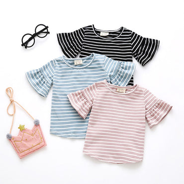 Butterfly Sleeve Casual  Striped O Neck Girl T-Shirt