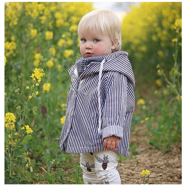 children Kids Boys Jacket Spring Hooded striped Warm Jackets