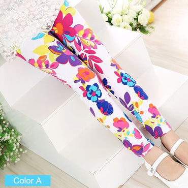 Girls Leggings Soft Cotton Flower Skinny Pants