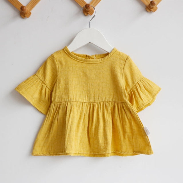Flaer Sleeve Cotton Girl Casual Shirt
