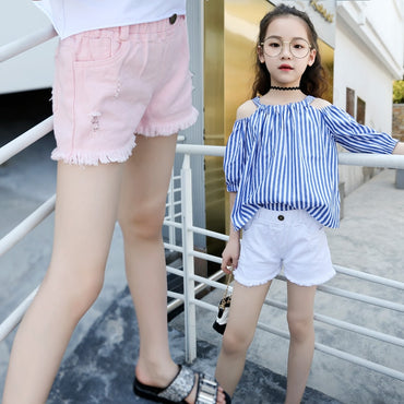 White Pink Denim Shorts For Girls High Quality Teens Girl Short Jeans