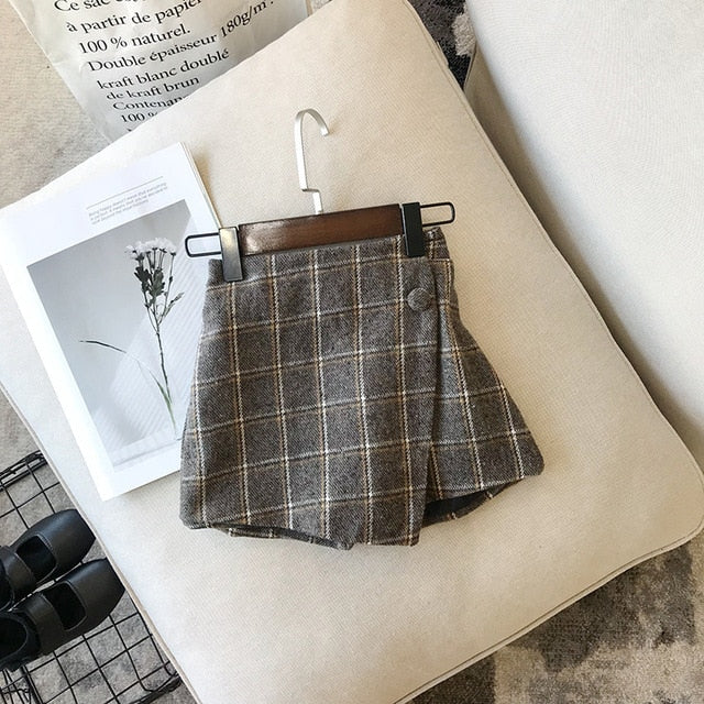 Plaid Skirt Fashion Elastic Waist Girl  Short Skirt