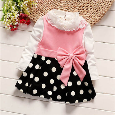 Baby girl cotton fashion long sleeve tops+ sundress set