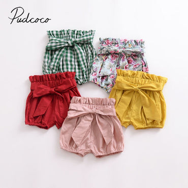 Summer Casual Shorts Elastic High Waist Solid Plaid Floral Print PP Pants