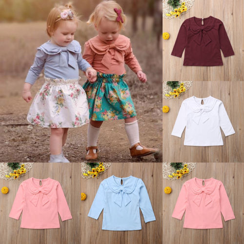 Baby Girl Bowknot Peter Pan Collar Cotton Long Sleeve Blouse
