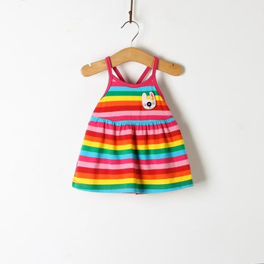 Floral Lemon Sling Bow Cotton Sling Rainbow Striped Cartoon Strap Baby Girl Princess Dress
