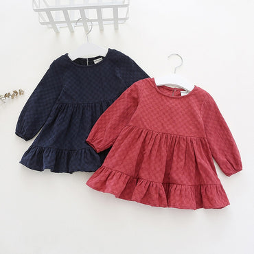 Fashion Cotton Long Sleeve Solid Baby Girls Princess Dress