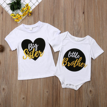 Big Sister Little Brother Matching Outfits Baby Boy Bodysuit Girl T shirt