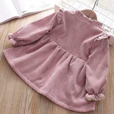 Cute Baby Girls Long-sleeved Dress Brim With Velvet