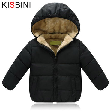 KISBINI Winter Jacket Thick Velvet For Girls Boys Baby Unisex Warm Coat Kids Children's Hooded Solid Cotton Padded Clothes