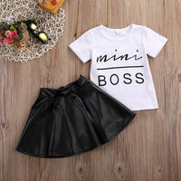 Cute 2PCS Girl Clothing Set Short Sleeve Mini Boss T-shirt + Leather Skirt Outfit