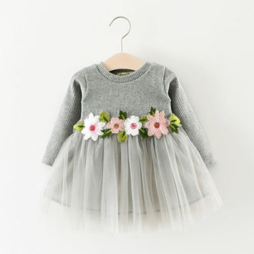 Pretty Baby Girls Flower Long Sleeve Lace Dress