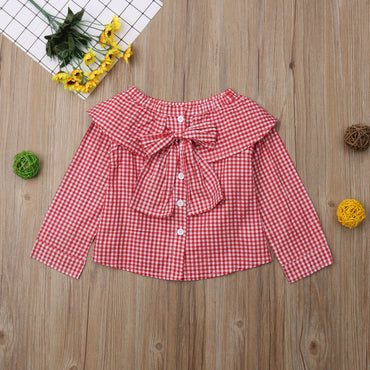 Girls Plaid Long Sleeve Bowknot Off-Shoulder Blouse