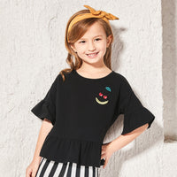Pure Cotton Flare Short Sleeve O-Neck Girl T-Shirt
