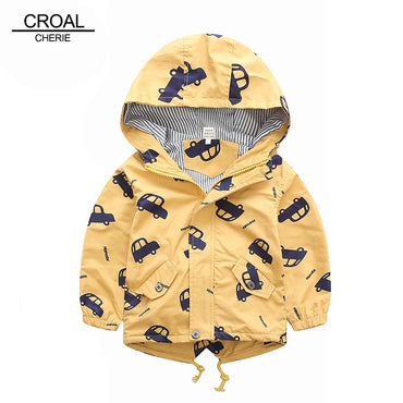 Boys  Kids Outerwear Cute Car Windbreaker Coats Fashion Print Canvas