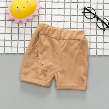 cotton button simple loose short pants