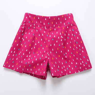 4 to 14 years girls geometric print sweet candy color cotton casual shorts