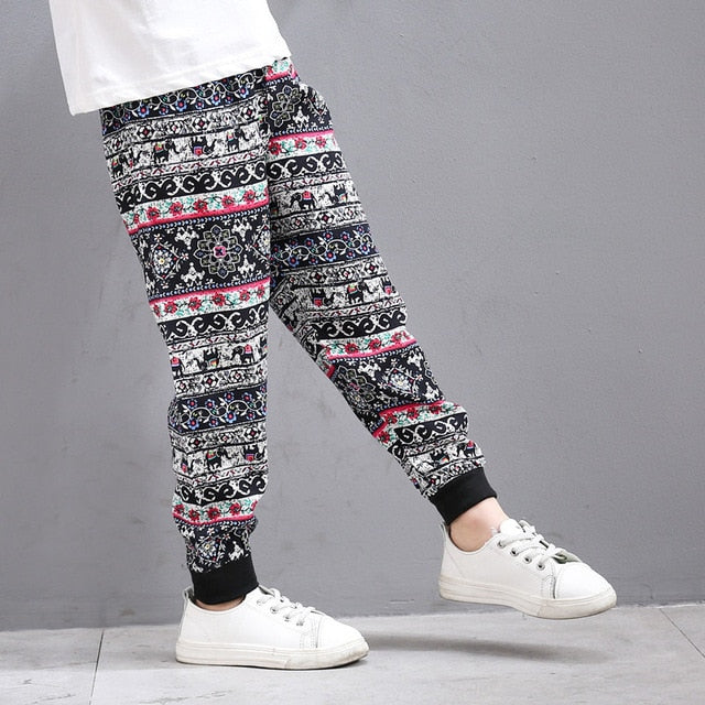 Children Printed Elephant Animal Pattern Casual Loose Pants