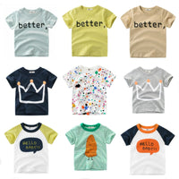 Cute Pattern Printed Short Sleeve Children Cotton T-shirt