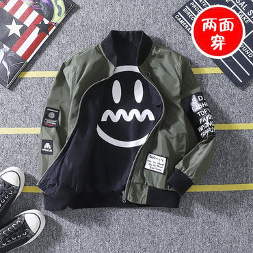Version Double-faced Smiley Face Printed Jacket Boys