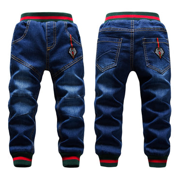 Big Boys Thicken Add Wool Pant Casual Washing Blue Jeans