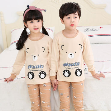 Kids Pajamas Sets Girl Boy Long Sleeve Sleepwear