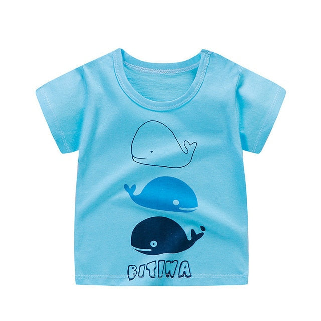 Fashion Cotton Spaceship Boys Girls Cartoon Print T-shirts