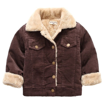 Autumn winter children's clothing jacket boys girls warm jacket children's baby rabbit plush thick coat 2018 lapel corduroy coat