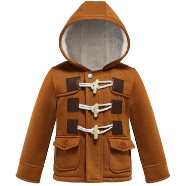Toddler Baby boys Outerwear Thicken Hooded faux