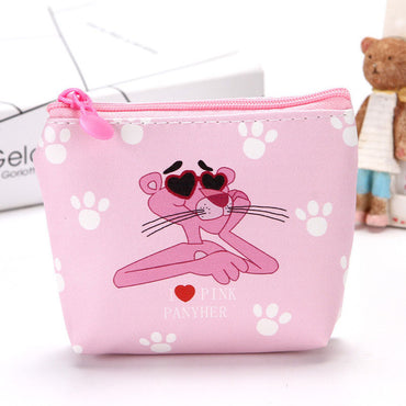 New Cartoon The Pink Panther Students Coin Purse Children PU Zipper Change Purse
