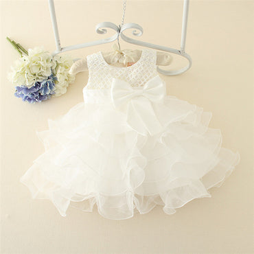 Hot Lace Flower Shaped Baby Girls Baptism Gown Cake Dress