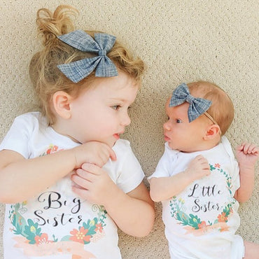 Family Clothes Fashion Floral Printing Big Sister Short Sleeve T-shirt Litter Sister Romper