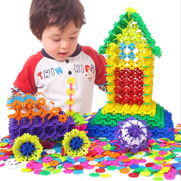 Puzzle Jigsaw Plastic Snowflake Building Creative Kids Flakes