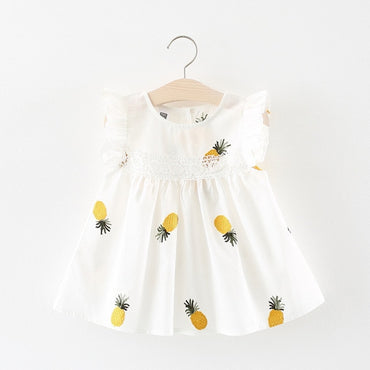 Baby Girls Frill Sleeve Cotton Pineapple Dress