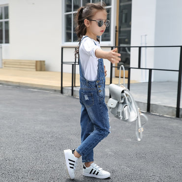 Girls Overalls Hole Jeans Loose Fit Bib Pants Jumpsuit