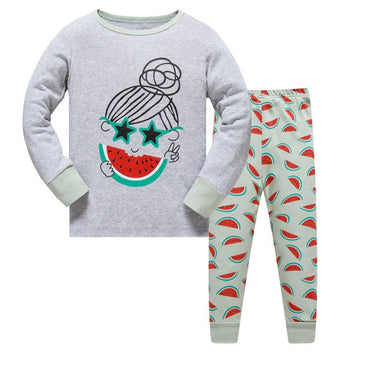 Cute cartoon kids pajama sets for girls and boys