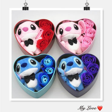 Handmade lovely stitch plush toys with soap flowers heart shape gift box