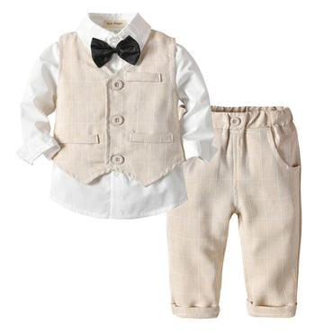 New Spring Infant Boys Suits Blazers Suits Clothes Vest Shirt Pants