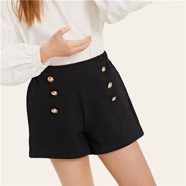 Kiddie Black Double Breasted Elastic Waist Pocket Patched Girls Short Pants