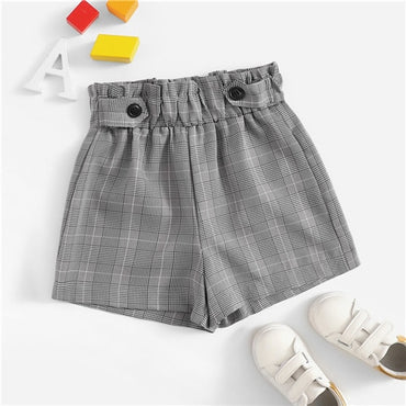 Kiddie Grey Elastic Waist Button Plaid Casual Shorts For Girls
