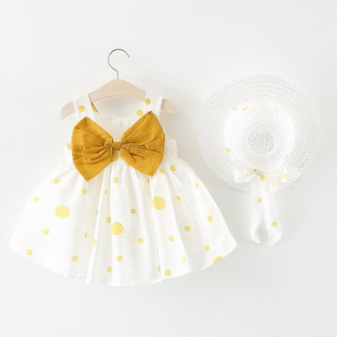 Baby Girl Cute Bow Polka Dot Straw Hat and Princess Dress