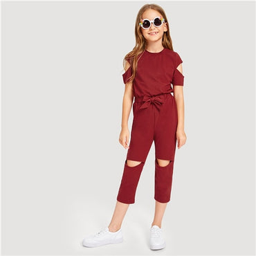 Kiddie Burgundy Cold Shoulder Zip Back Cut Out Drawstring Waist Jumpsuit